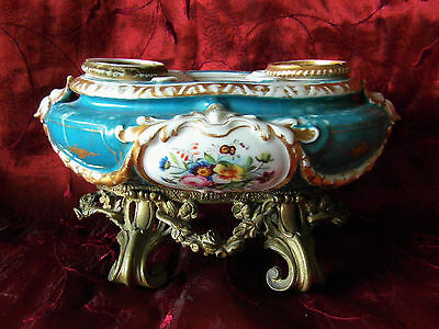 Antique French Sevres Porcelain Inkwell on Gilt Metal Stand