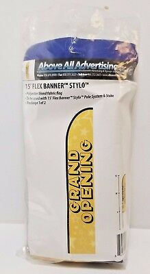 BRAND NEW Above All Advertising GRAND OPENING 15' Flex Blade Stylo Fabric Flag