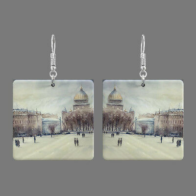 Natural Mother of Pearl Shell Scenery Earrings Square Drop Jewelry S1706 0135