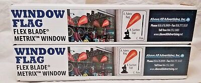 NIB Above All Advertising CLEARANCE Suction Window Flag Flex Blade Signs SET