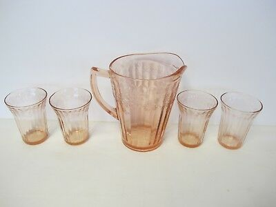 """Jeannette  Pink Cherry Blossom 8"""" Flat Pitcher And 4  4 ¼"""" Flat Tumblers"""