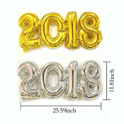 2018 Gold / Silver Foil Balloons Festival Happy New Year Room Decoration
