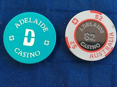 VINTAGE ADELAIDE CASINO CHIPS FROM THE 1980s - $2 & colour