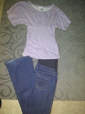 Thyme size m maternity jeans(blue) , xs old navy maternity top (lilac) lot of 2