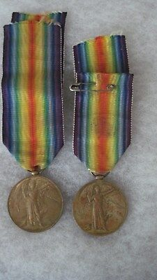 Original Pair WW1 British Victory Medals No Brooch/Named/Numbered/Rare