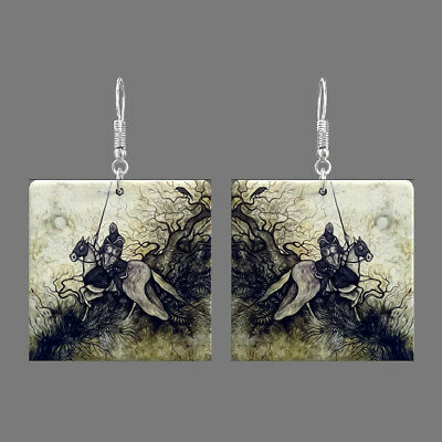 Natural Mother of Pearl Shell Knight Earrings Square Drop Jewelry S1706 0085