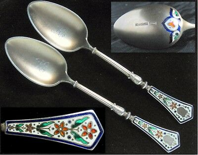 Antique Jacob Tostrup, Norway, 950 sterling silver Arts & Crafts enamel spoons