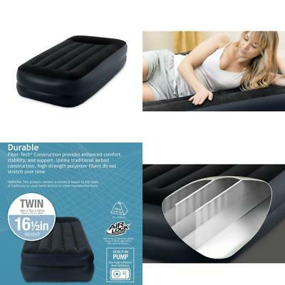 Twin Size Air Mattress INTEX Inflatable Airbed Bed Built In E-Pump Pillow New