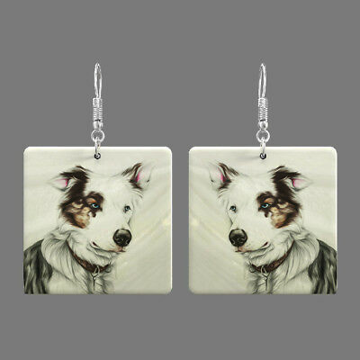 Natural Mother of Pearl Shell Dog Earrings Square Drop Jewelry S1706 0060