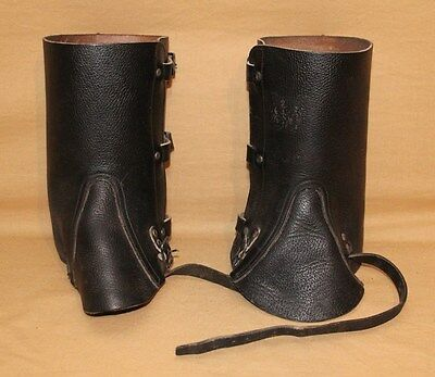Swiss Military Black Leather Boot Cover Gaiters 9.5 Inch Tall Hunting Motorcycle