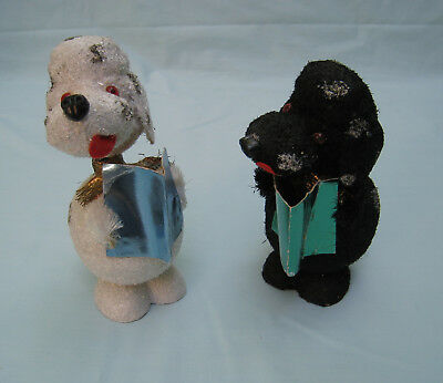 Vtg Pair West German Christmas Bobble Head B&W Caroling Dogs Candy Containers