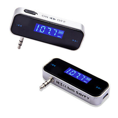 2x Wireless Music to Car Radio FM Transmitter For 3.5mm MP3 iPod Phones Tablets