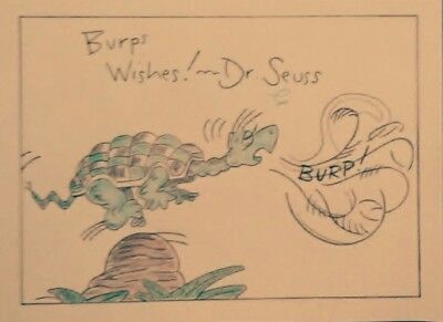 Dr. Seuss, Turtle drawing Pencil/color pencil art, signed drawing.