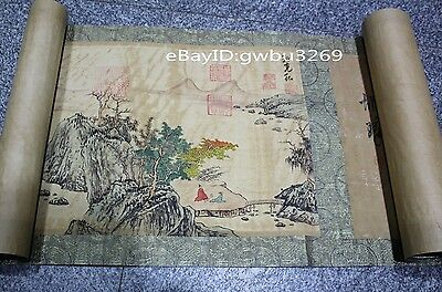 Marks Rare Old Chinese Very Long Scroll Painting Landscape theme Map -Sunkehong