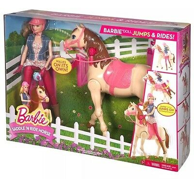 BARBIE Saddle 'N Ride HORSE Walks On Its Own DOLL Jumps On & Rides Automatically