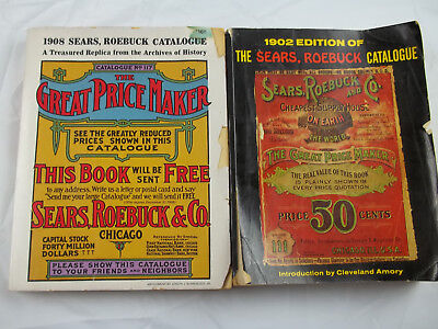 Vintage Reprint Of 1902 & 1908 Edition Sears Roebuck Catalog Books