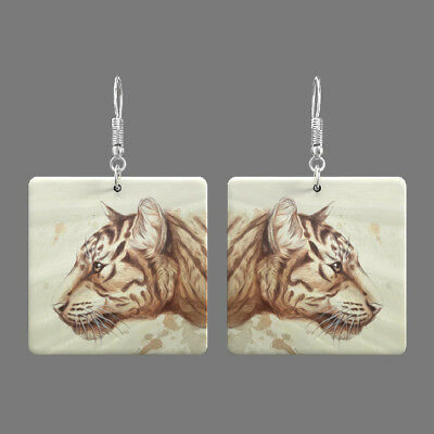 Natural Mother of Pearl Shell Tiger Earrings Square Drop Jewelry S1706 0010