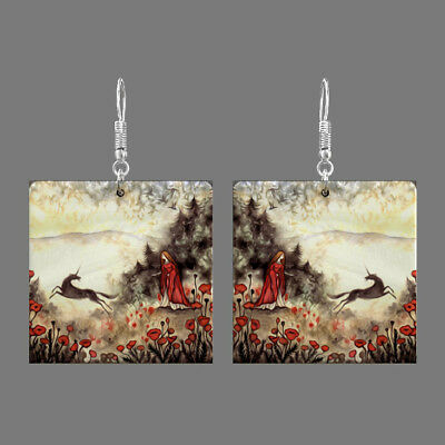 Natural Mother of Pearl Shell Scenery Earrings Square Drop Jewelry S1706 0130