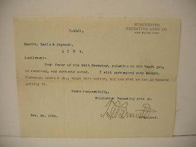 VINTAGE Original Winchester Repeating Arms Letterhead Earle Seymour Dec 28 1895