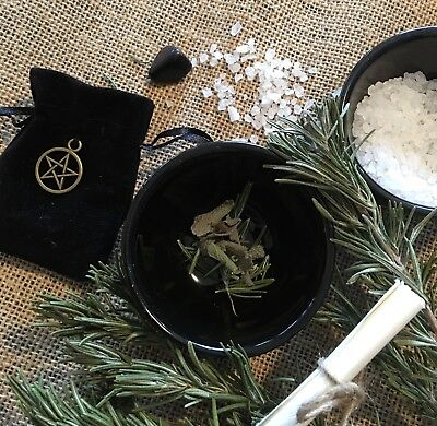 Vehicle Protection Pouch Mojo  ✨ Wicca Dragons Blood Herbs Pentagram Pagan  🌿