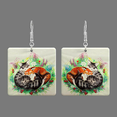 Natural Mother of Pearl Shell Cat Earrings Square Drop Jewelry S1706 0005