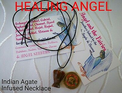 Code 504 HEALING ANGEL Necklace Indian Agate Infused black cord Fre Postage Aus