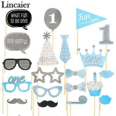 1st Birthday Photo Booth Props Boy First Party Decorations Supplies One 1 Year