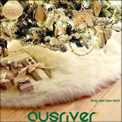 90cm Christmas Tree Skirt Plush White Stands Ornaments Xmas Party Decoration