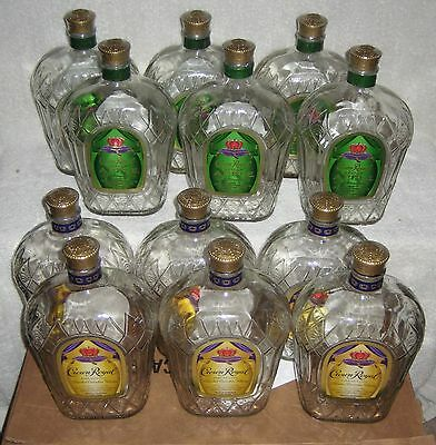 (12) CROWN ROYAL Whisky 750 ml Bottles w/ Caps  Apple FREE SHIPPING!