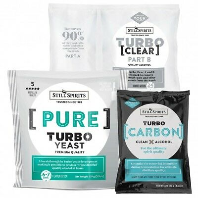 Still Spirits Distilling Kits 5 Of Each - Pure Turbo Yeast, Carbon, Clear