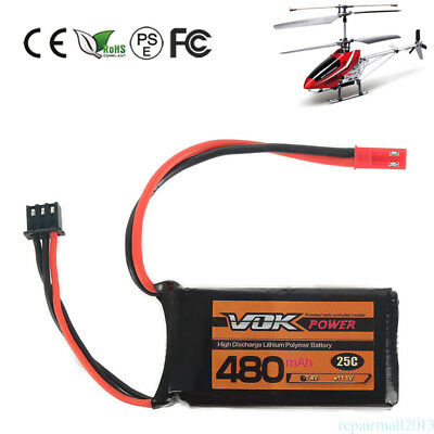 VOK JST Plug Lipo Battery 2S 7.4V 480mAh 25C Battery for RC Quadcopter Drone New