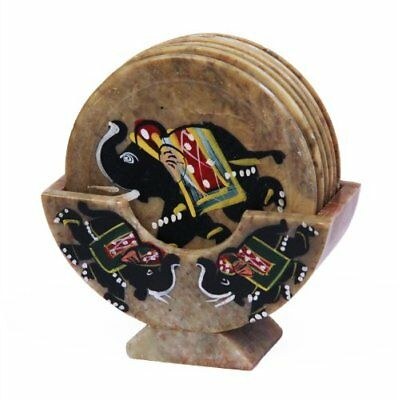 Royal Set of 6 Hand Carved Marble Bar Coaster with Hand-painted Elephant Desi...