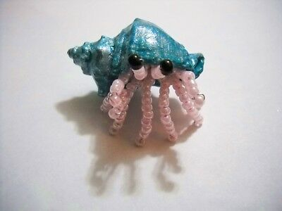 Handmade Glass Beaded Hermit Crab Real Shell Figurine Small Pearly Pink Teal