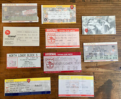 Arsenal 10 different x home tickets from 80's-2000's