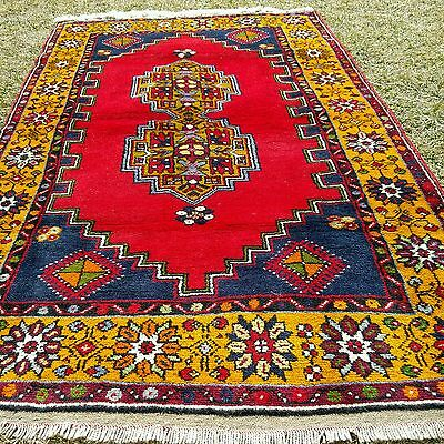 Authentic 3'10''x7'1'' 1900-1930s Antique Lambs Wool Pile Tribal Rug Turkey