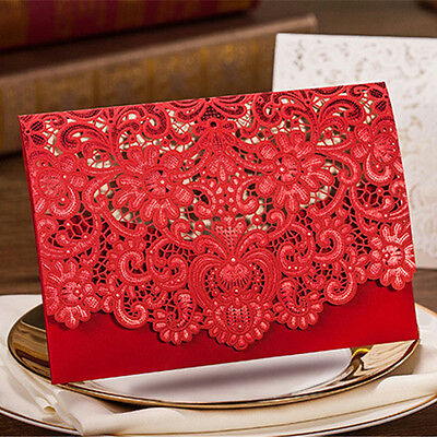 Red Wedding Invitation Cards With Envelopes+Seals Custom Personalized Printing