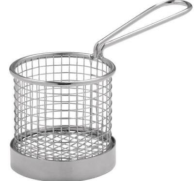 6 x Presentation Mini Round Fry Basket with Handle 80x80mm Stainless Steel