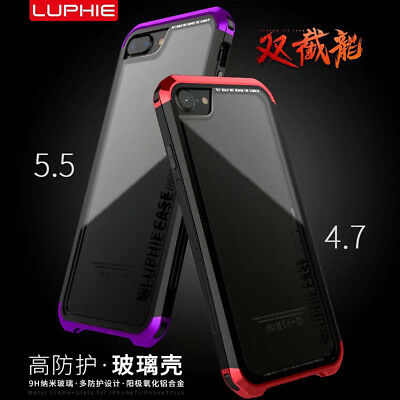 For iPhone 8/7/6 Plus LUPHIE Aluminium Metal Bumper Carbon Fiber Case Cover S005
