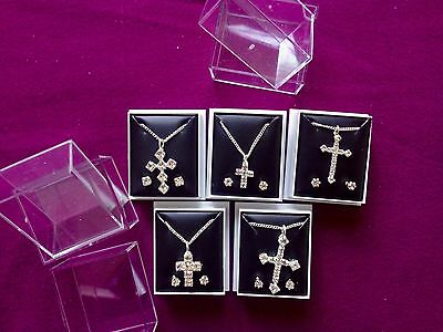 JOBLOT-5 sets of cross pendants.Crystal diamonte.Gift boxed.Silver plated.