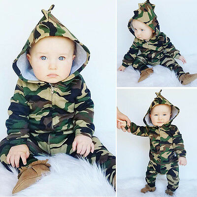 Newborn Infant Kid Baby Boy Girl Romper Hooded Jumpsuit Bodysuit Outfit Clothes