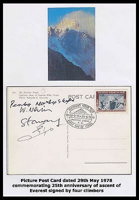 NEPAL Mt. EVEREST 1973 EXPEDITION SIGNED CARD