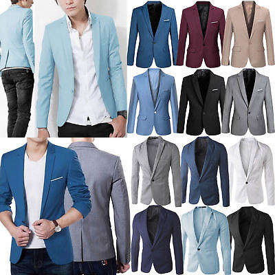 Mens Blazer Jacket Casual Slim Fit One Button Coat Casual Formal Business Suit