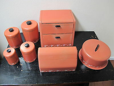 Ransburg Hand Painted Canister Bread Box Cake Carrier Storage Paper Towel Set