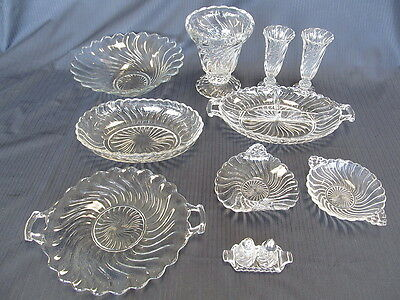 Fostoria Colonial Swirl 12 Pieces Glass Vase Dish Salt & Pepper Bowl Relish Cake