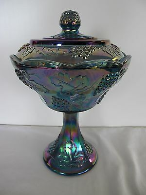 "Carnival Indiana Glass Blue Harvest Grape  11"" Covered Compote Dish"