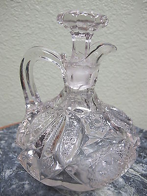 Vintage Hand Blown Glass Crystal Cruet with Matching Stopper American Brilliant