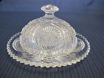 Vintage Oval Clear Cut Eapg Sawtooth Edge Glass Covered Butter Cheese Dish