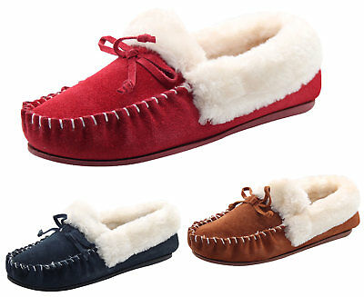 Womens Moccasins Slipper faux Fur Fluffy Suede Ladies Slip on Leather Soft Shoes