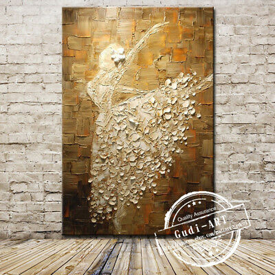 GUDI-Large Hand Drawing Modern Abstract Oil Painting Dance Home Decor Canvas Art