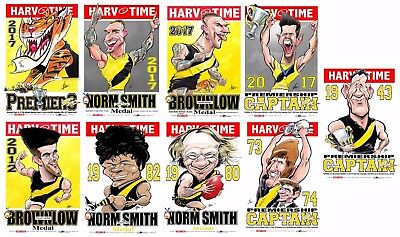 2017 Richmond Tigers Premiers Premiership Harv Time Print Set Of 9 Norm Smith
